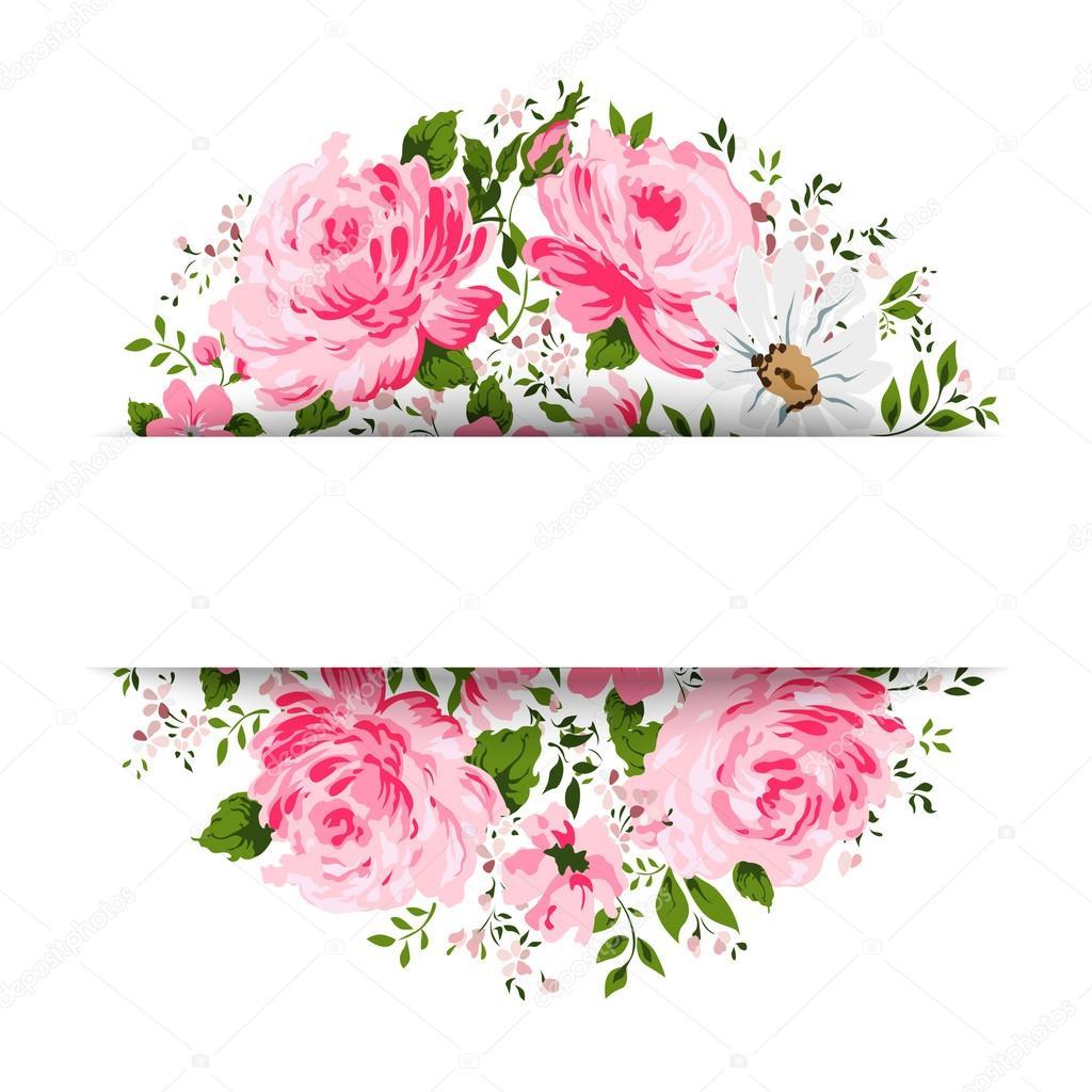 Vector Flores Vintage Tarjeta Vintage Con Flores Rosa Peonia