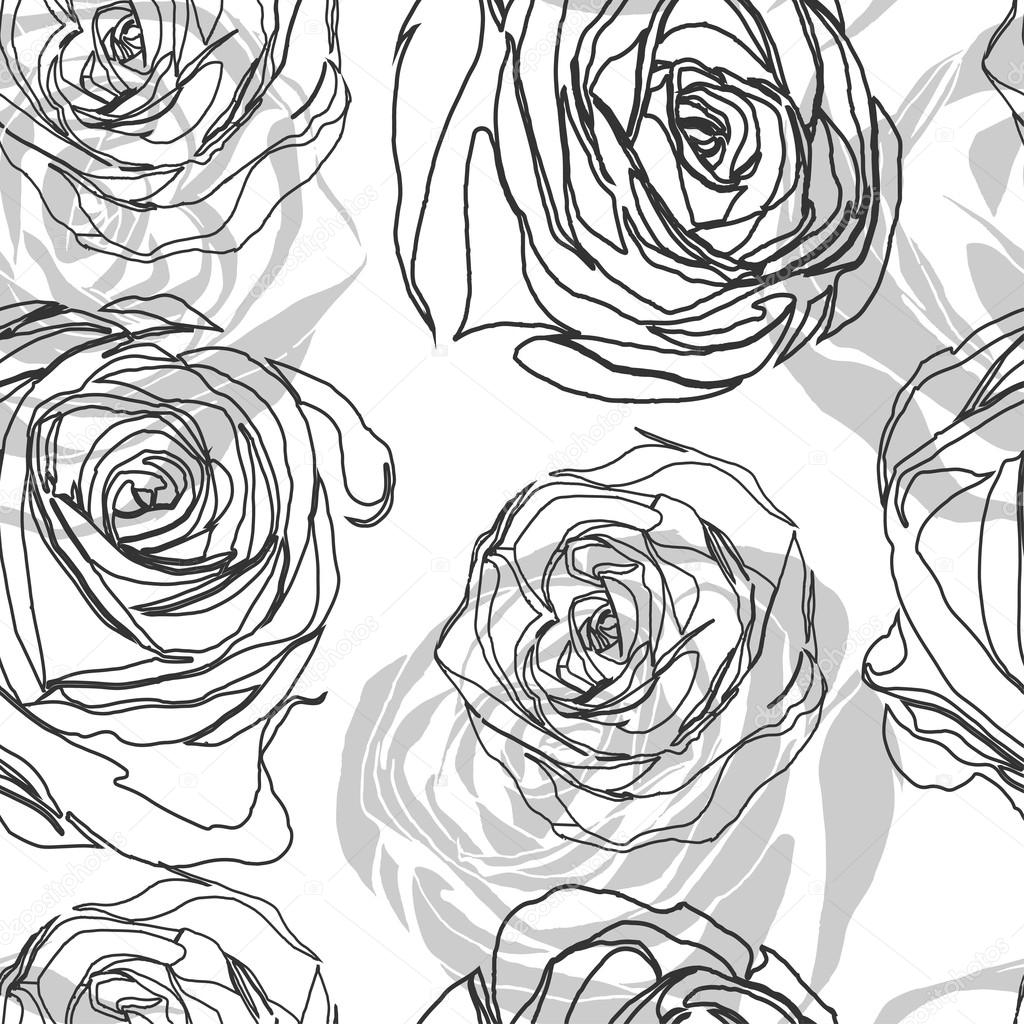 black and white seamless pattern in roses with contours.