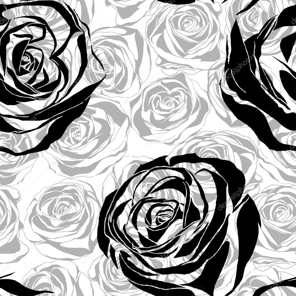 vector seamless pattern with blooming roses