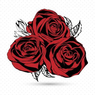 Red roses on white background. Vector illustration.