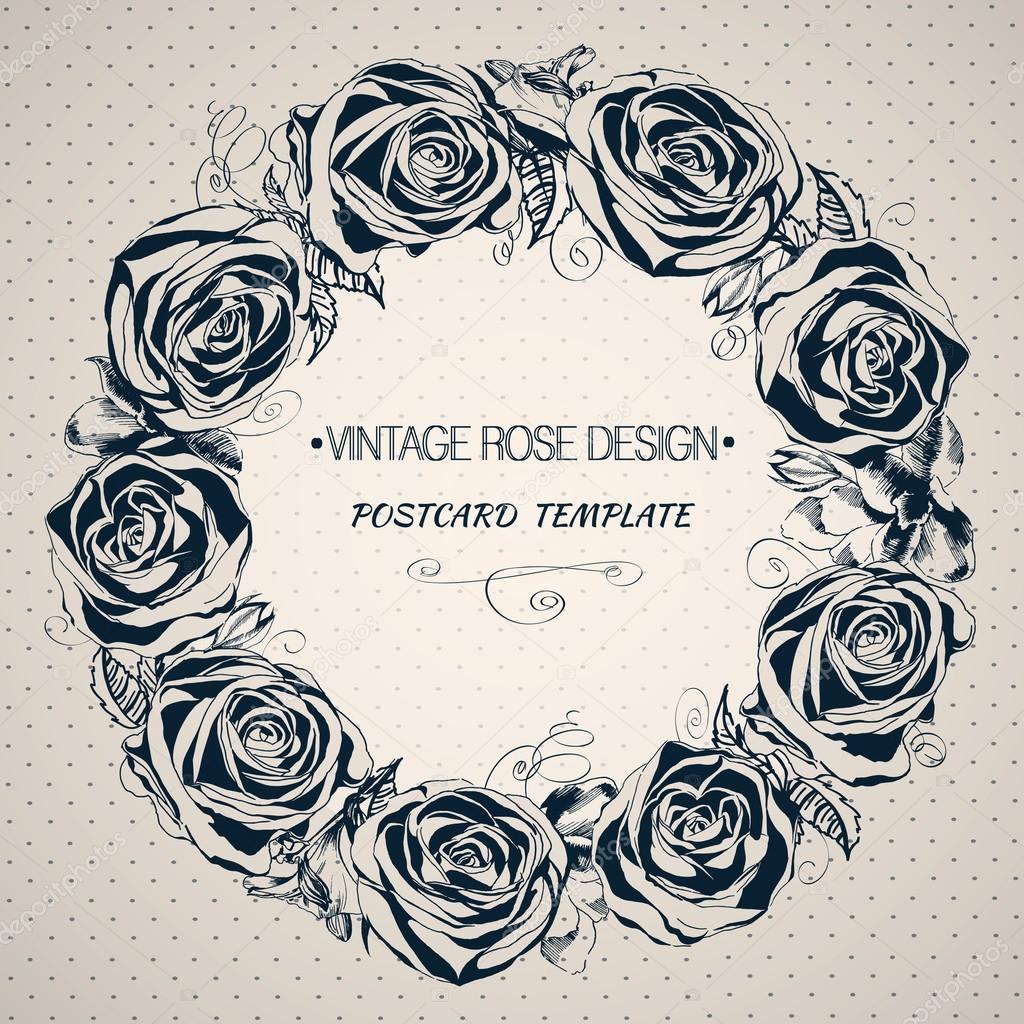 fond avec des fleurs roses. main-dessin floral guirlande — image