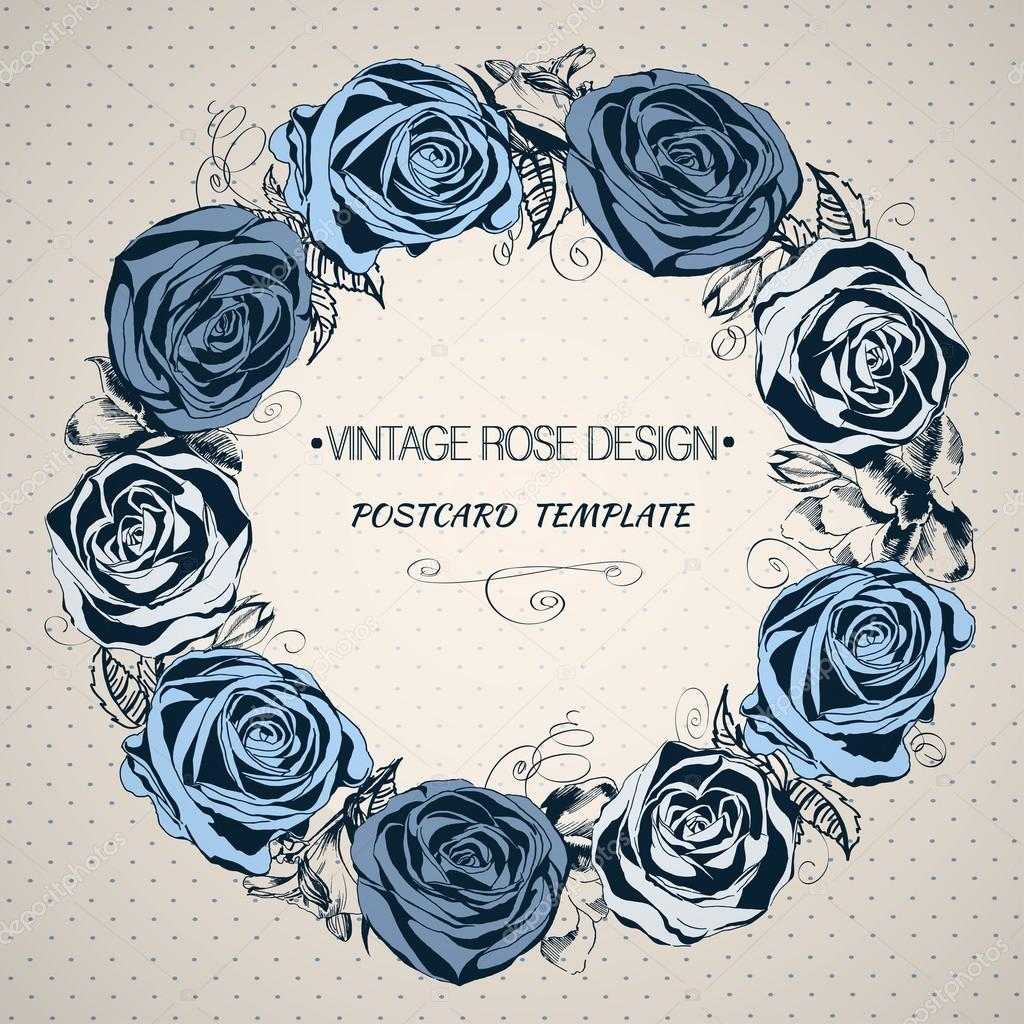 Hand drawn floral wreath with blue roses in vintage style.