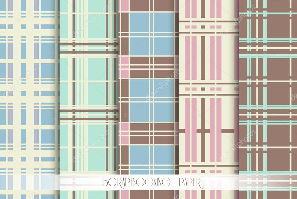 5 Pattern papers for scrapbook . Blue, pink, green and brown shabby color. Endless texture can be used for printing onto fabric and paper or scrap booking. Flower abstract shape.