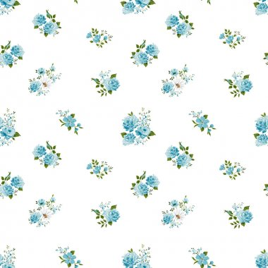 Beautiful vintage seamless floral pattern background. Bouquets of blue roses on white background
