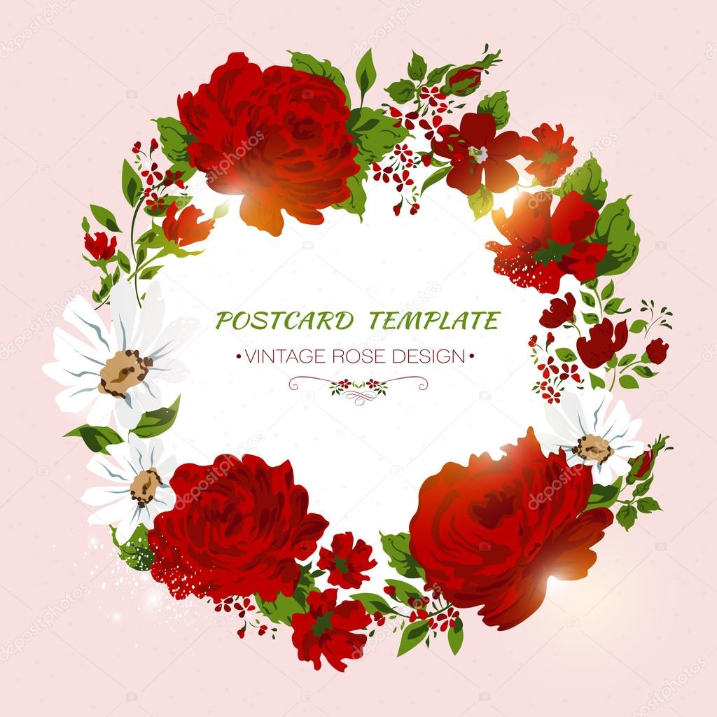 Vintage card with red roses, peony, camomile. Floral invitation
