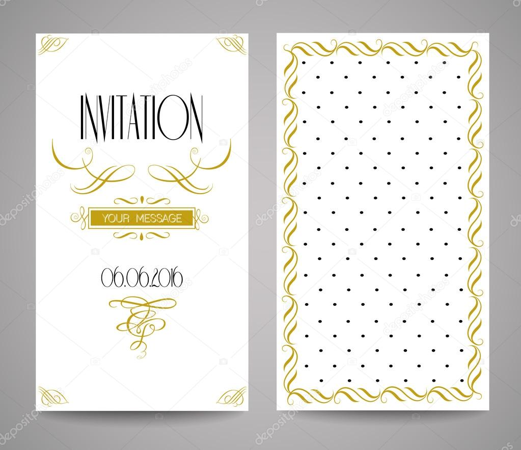Vector gold ornate frame and ornament. Easy to edit. Perfect for invitations or announcements.