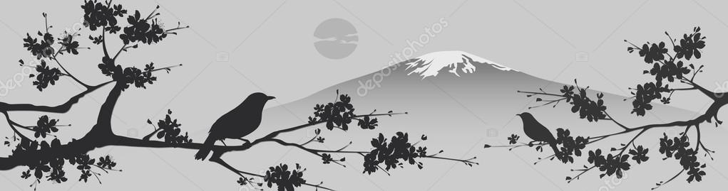 Japanese design with Fuji mountain and Sakua Tree.