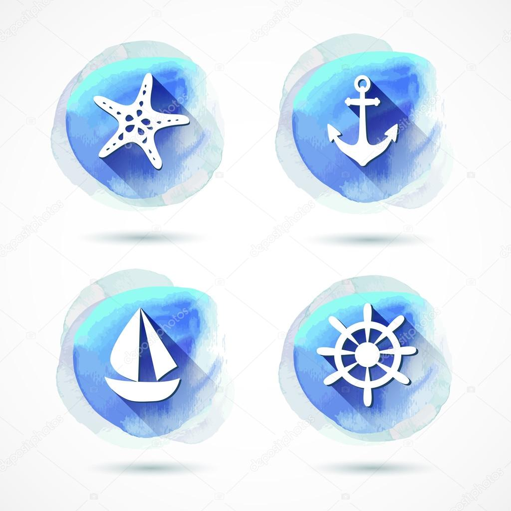 Set of elements on the marine theme with a watercolor background. Watercolor. Vector illustration. Illustration for greeting cards, invitations, and other printing projects.