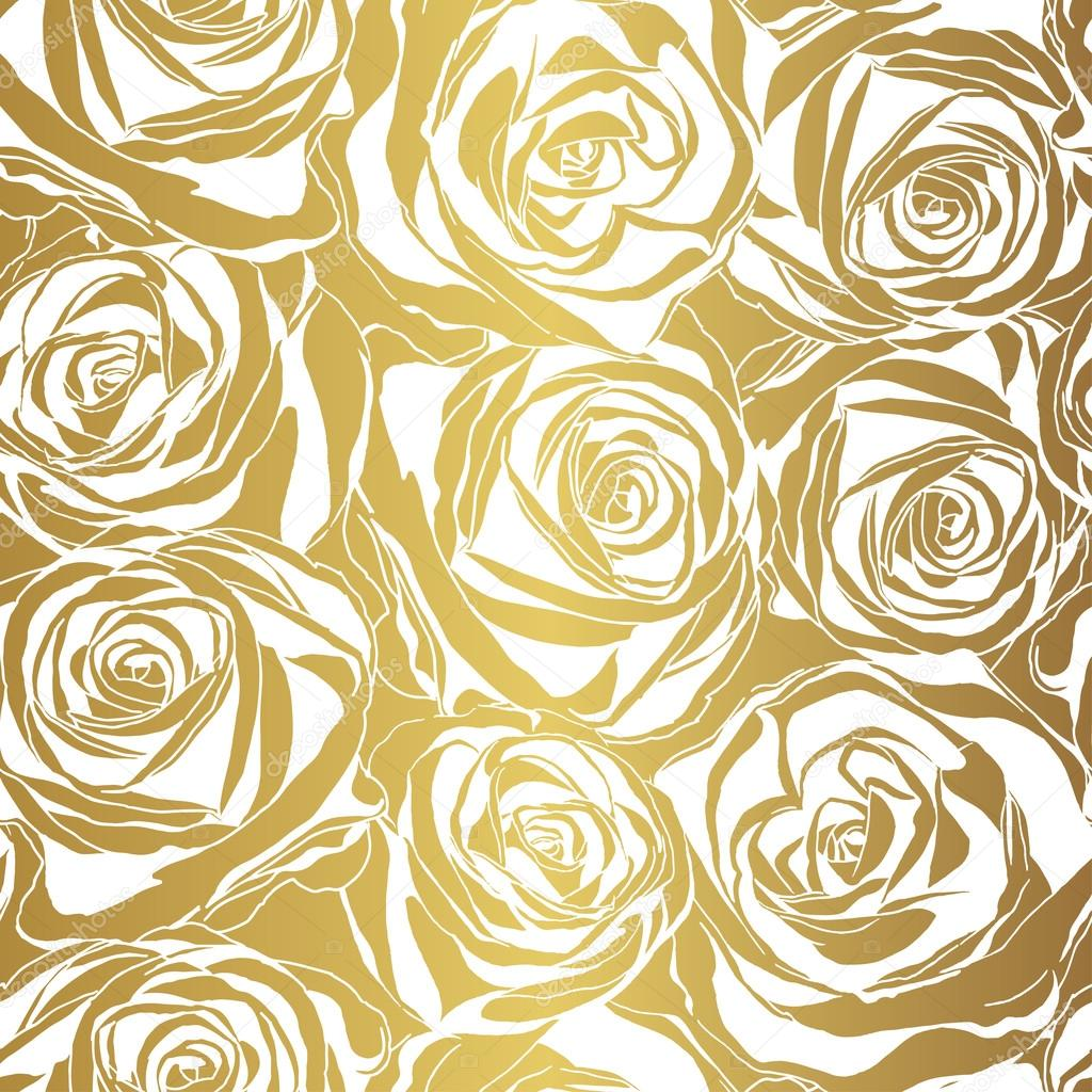 Elegant white rose pattern on gold background. Vector illustration.
