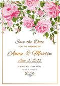 Invito dellannata di vettore floreale con rose rosa