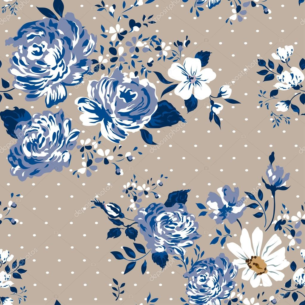 Beautiful vintage seamless floral pattern background. Flower bouquets of roses.
