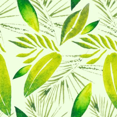 Exotic tropical leaves. Seamless, hand painted, watercolor pattern. Vector background.