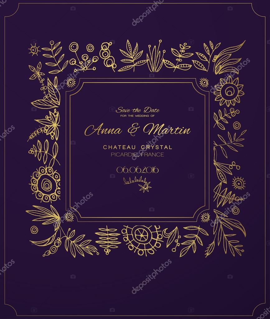 Oro adornado marco para invitaciones o avisos. Mano dibujar flores ...
