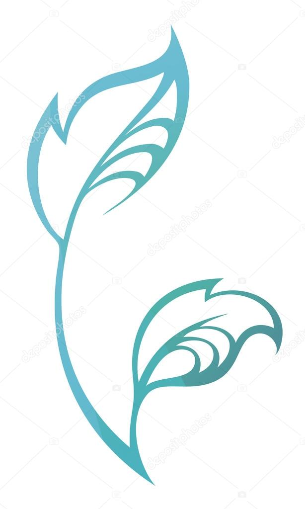 Vector stylized silhouette of spring  tree leaf isolated on whit