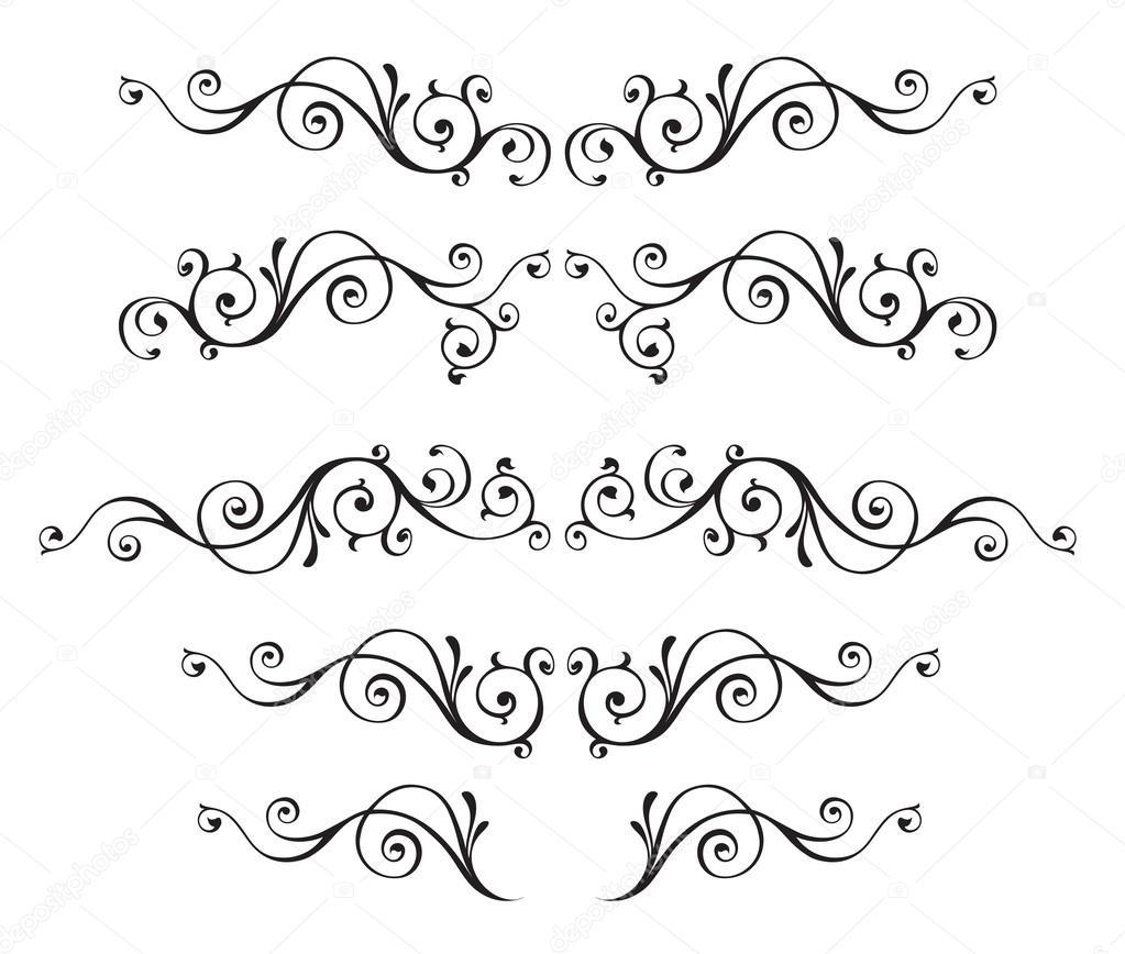 Conjunto de Marcos Vintage vector ornamental aislado en blanco ...