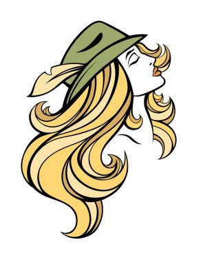 Vector stylized portrait of cartoon pretty fashion girl with long hair in hat isolated on white. Linear illustration.