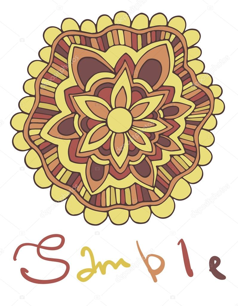Ethnic ornamental boho background with place for text. Vector floral banner with flowers. For inviting, greeting cards, labels.