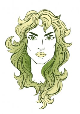Vector portrait of green long haired girl isolated on white.
