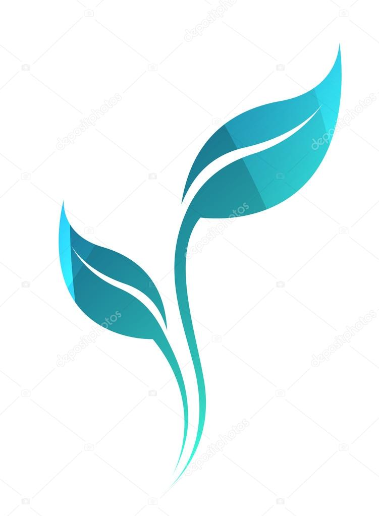 Vector stylized silhouette of spring green tree leaf isolated on