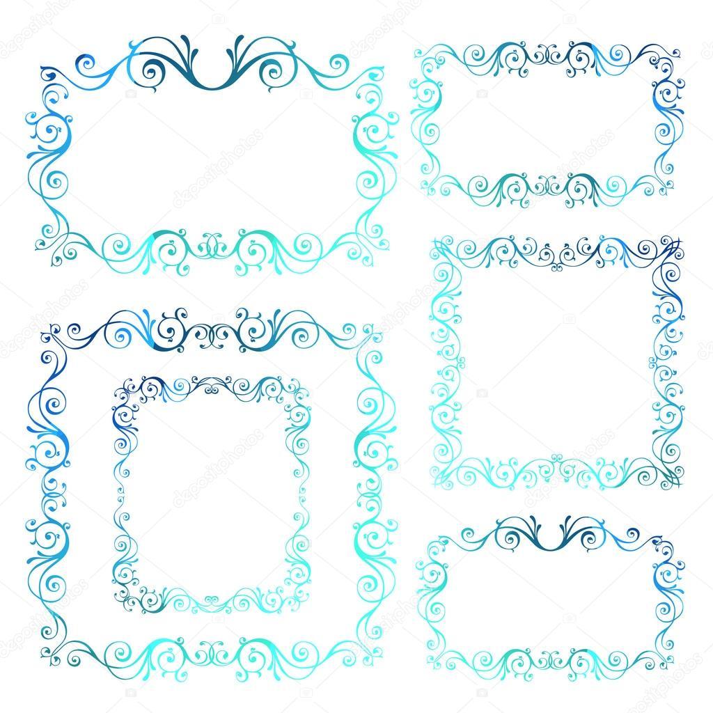 Marcos Vintage vector ornamental. Azul invierno caligráfico Y nuevo ...