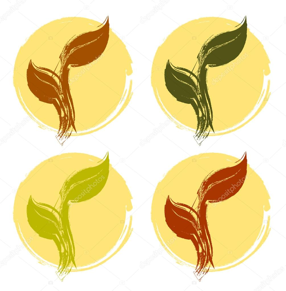 Vector grunge silhouette of spring tree leaf isolated on colour
