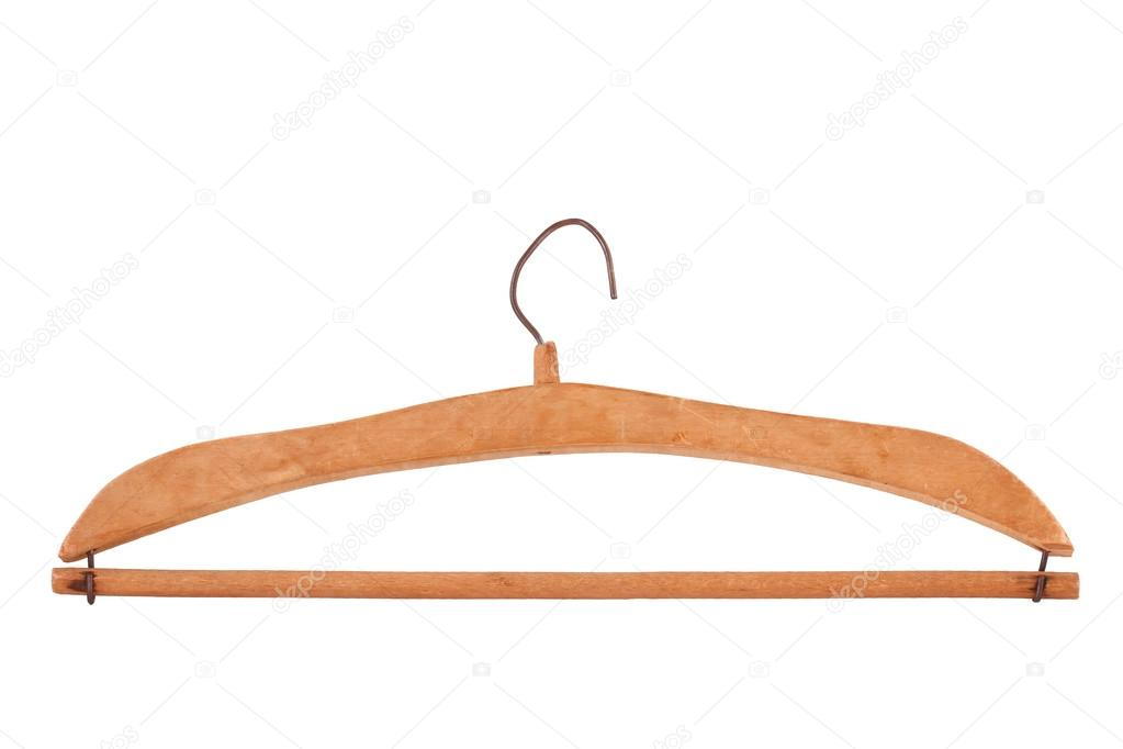 Antique Wooden Clothes Hanger Isolated On White Stock Photo