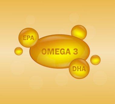 Golden omega 3 on white background. Vector design. Logo design. Logo fish. Isolated vector sign symbol icon