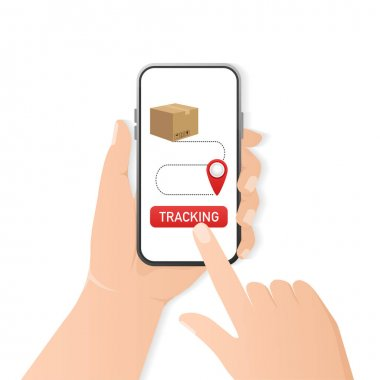 Tracking package smartphone. Online delivery service concept, online order tracking. Vector illustration icon