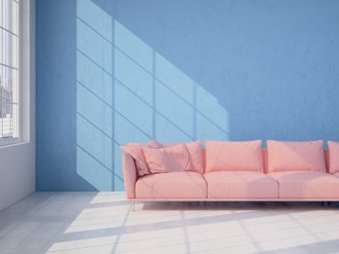 Modern interior with blue wall and pink sofa. 3d rendering