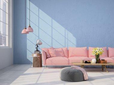 Contemporary living room loft interior. 3d rendering stock vector