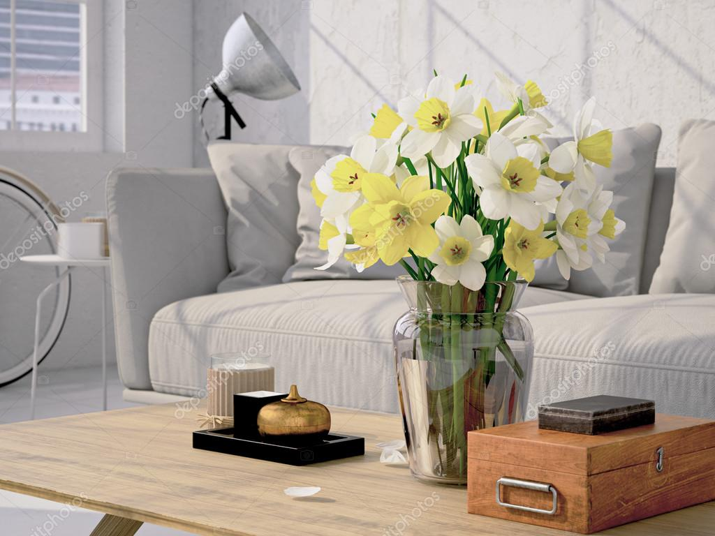 Beautiful bouquet of daffodil. 3d rendering