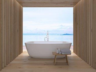 Modern luxury bathroom interior. 3d rendering