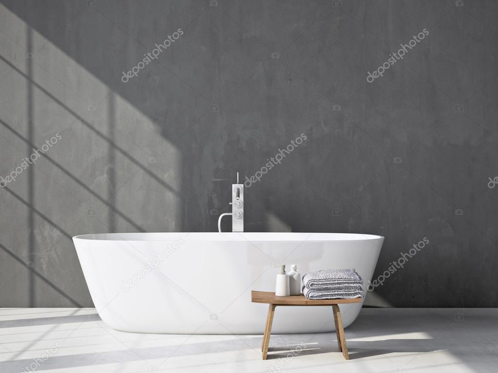 Grau, modernes Badezimmer mit Badewanne. 3D-Rendering ...