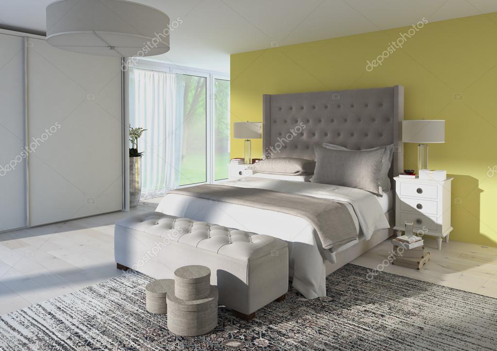 Je Slaapkamer Decoreren : Comfortabele slaapkamer met mooie decoratie d rendering