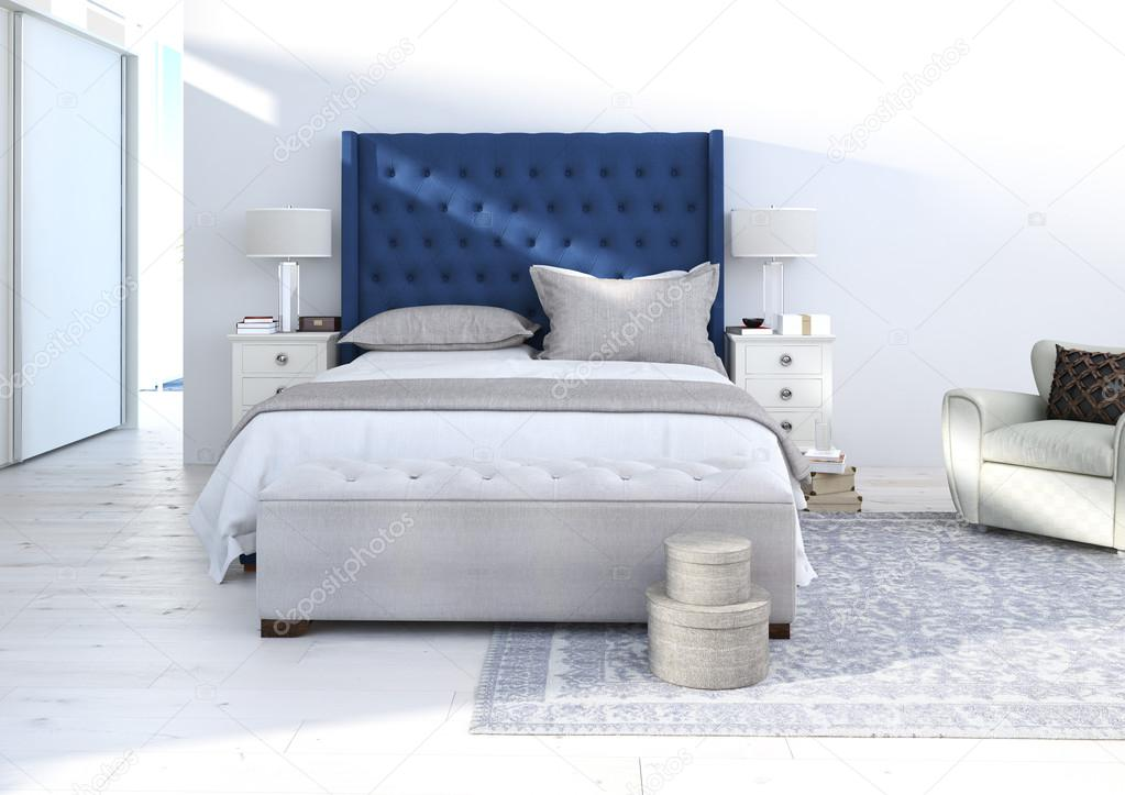 komfortables Schlafzimmer mit schöner Einrichtung. 3D-Rendering ...