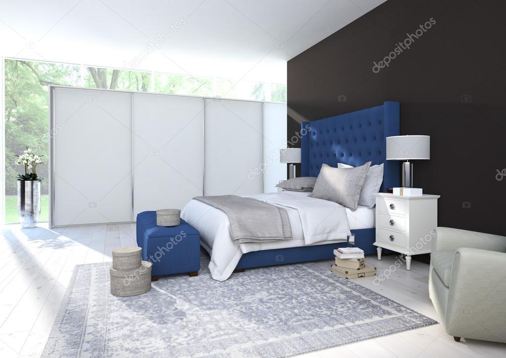 Comfortabele slaapkamer met mooie decoratie d rendering