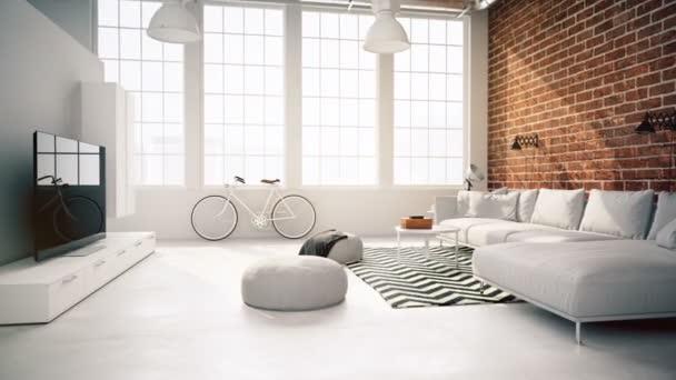 interiér podkroví obývací pokoj. s úniky. 3D vykreslování