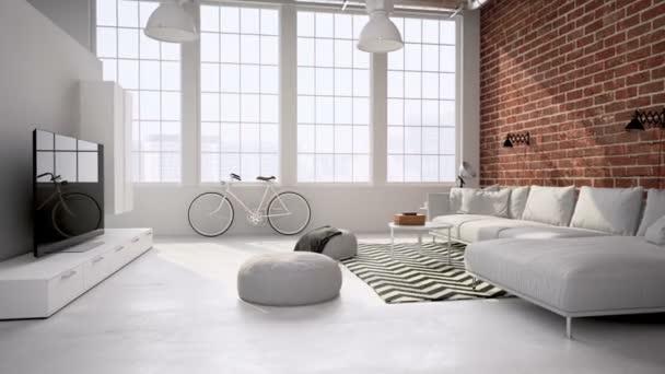 interiér podkroví obývací pokoj. neutrální. 3D vykreslování