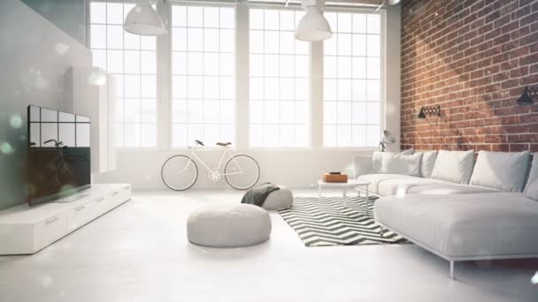 living room loft interior. with flakes. 3d rendering