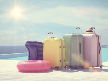 coloful suitcases next to the swimming pool. 3d rendering