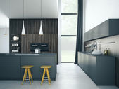 Photo modern kitchen in a house or apartment. 3d rendering