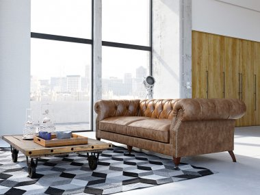 loft apartment in the city with vintage sofa. 3d rendering