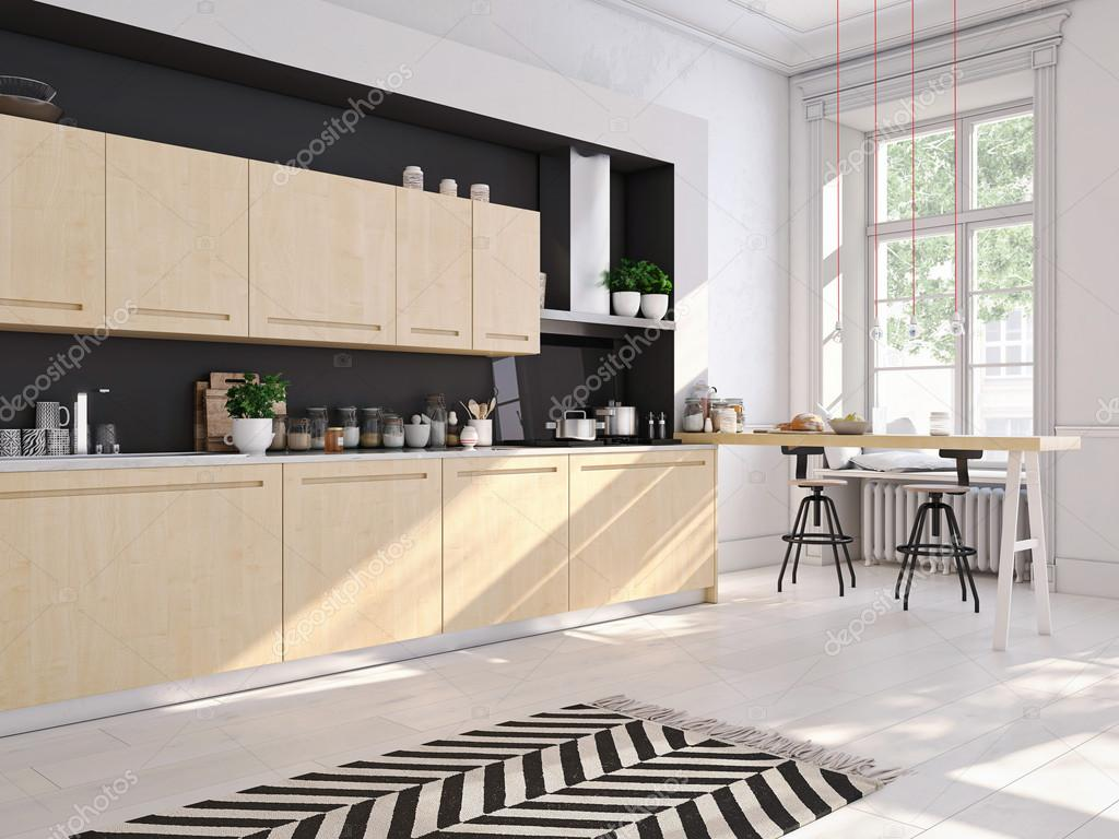 Moderne scandinavische keuken in loft appartement d rendering