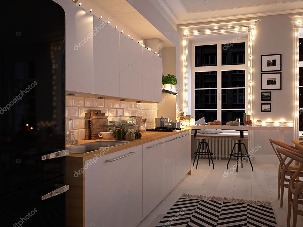 Cozinha N Rdica Em Um Apartamento Renderiza O 3d Conceito De A O  -> Fotos De Cozinha Conceito Aberto