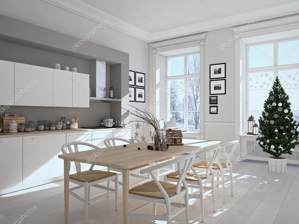 Scandinavische keuken met decoratie van kerstmis. 3d rendering