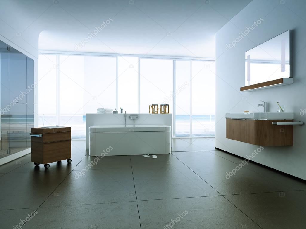 View of a spacious and elegant bathroom in an apartment. 3d rendering