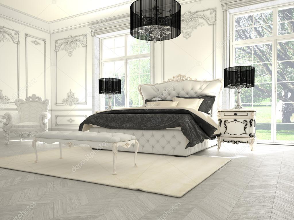 Intérieur dune chambre de style classique dans la villa de luxe rendu 3d photo 59017065