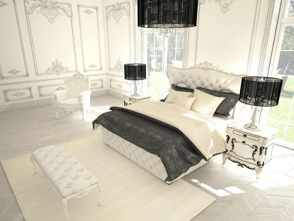 Intérieur dune chambre de style classique dans la villa de luxe rendu 3d photo 59017409