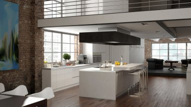 Modern loft with a kitchen. 3d rendering