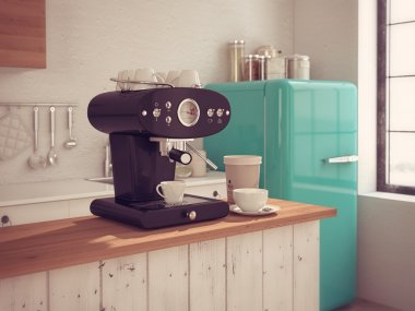Coffeemaker and cup of coffee in kitchen interior. 3d rendering